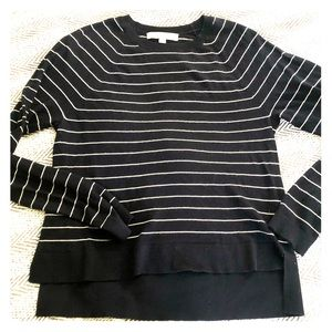 Loft Pinstriped High-Low Sweater